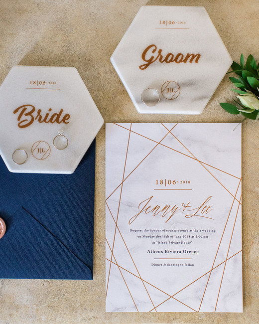 rose gold accented white and navy stationary wedding invites