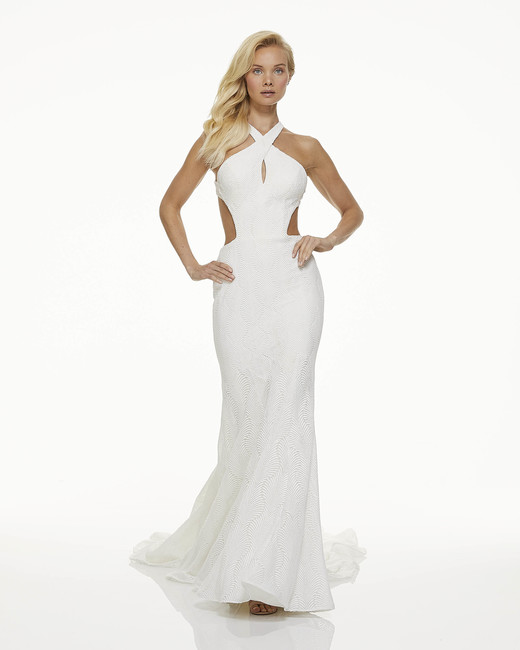 mark zunino fall 2019 mermaid halter sleeveless peekaboo cutout texture