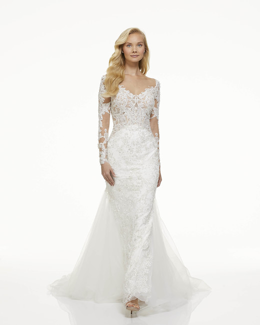 mark zunino fall 2019 mermaid sweetheart illusion long sleeves shimmering floral lace tulle train