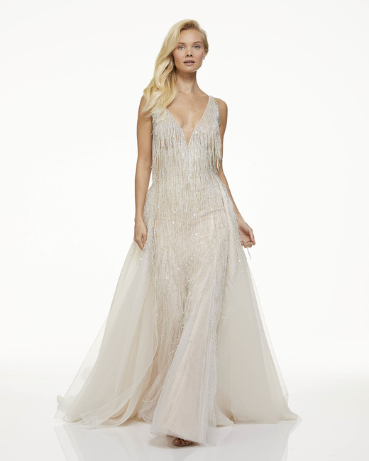 mark zunino fall 2019 a line plunging v neck sleeveless metallic fringe sheer train