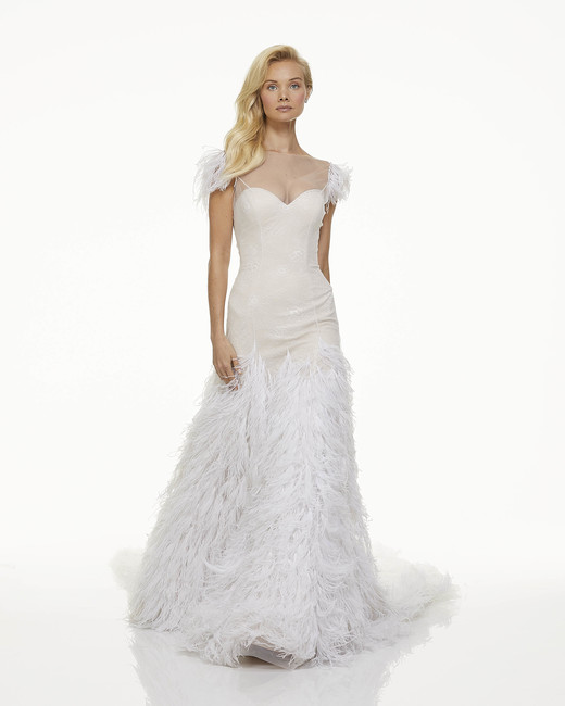mark zunino fall 2019 mermaid sweetheart illusion high neck cap sleeve feathers