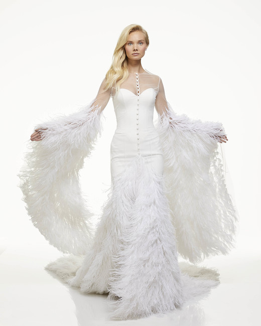 mark zunino fall 2019 mermaid sweetheart illusion high neck long flutter sleeve feathers button cape
