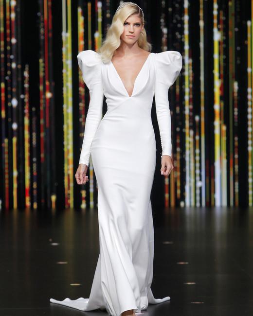 pronovias long leg of mutton sleeves plunging neckline wedding dress spring 2020