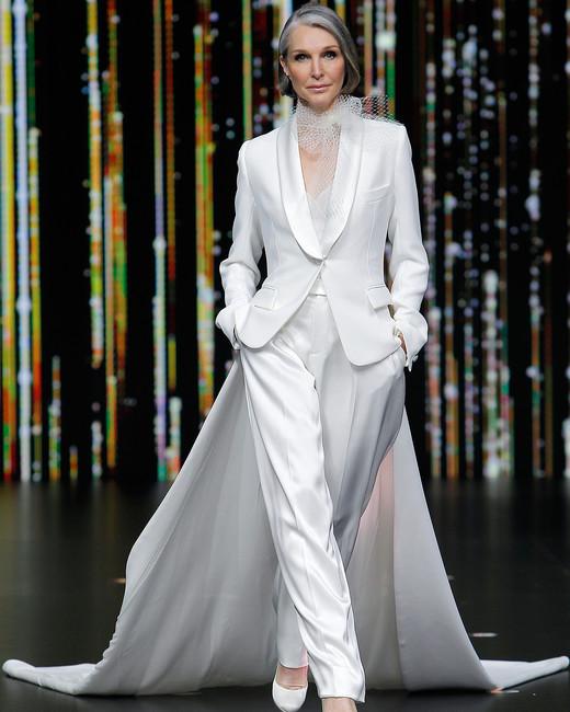 pronovias pantsuit with train wedding dress spring 2020