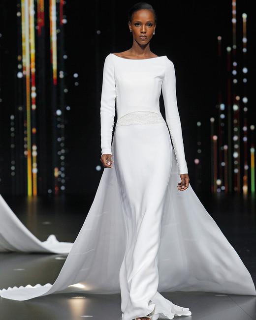 pronovias long sleeve boatneck sheath wedding dress with train spring 2020