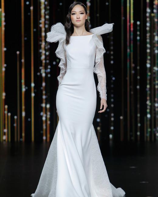 pronovias long vertical ruffled sleeves boatneck wedding dress spring 2020