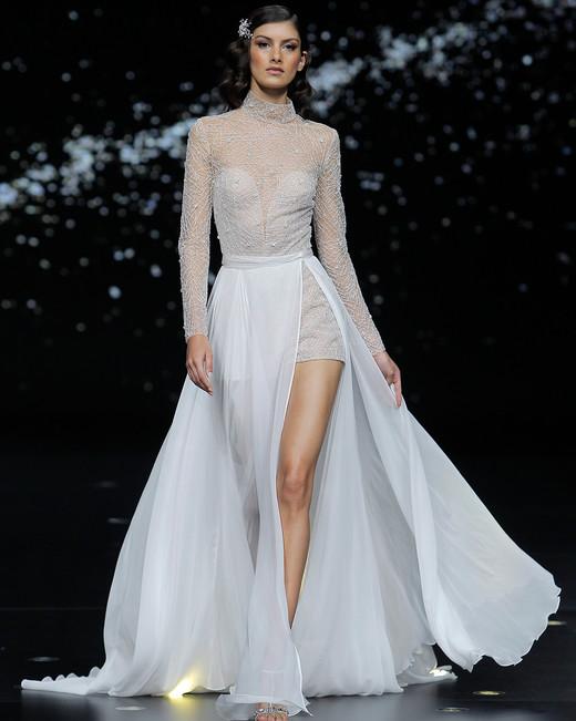 pronovias long sleeve high neckline short wedding dress with sheer overskirt spring 2020