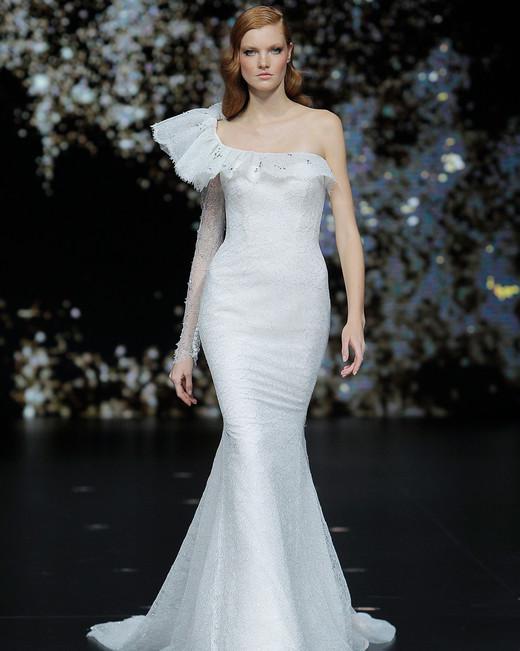 pronovias asymmetrical trumpet wedding dress spring 2020