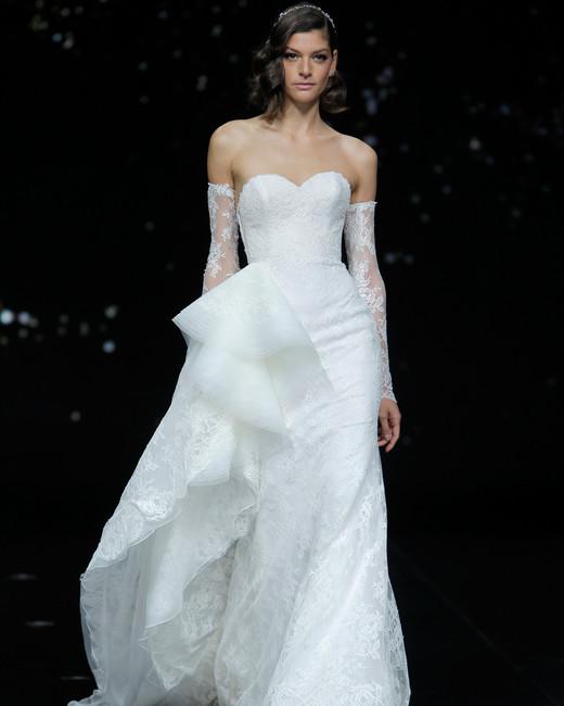 pronovias strapless lace vertical ruffled wedding dress spring 2020