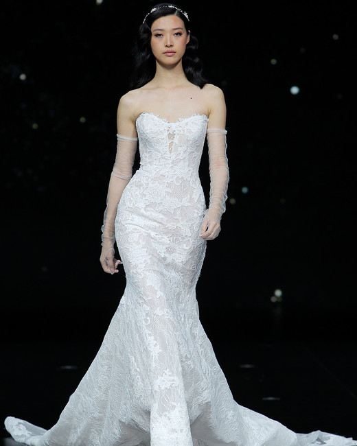 pronovias strapless lace trumpet wedding dress spring 2020