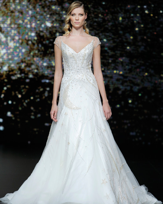 pronovias beaded moon and stars short sleeve a-line wedding dress spring 2020