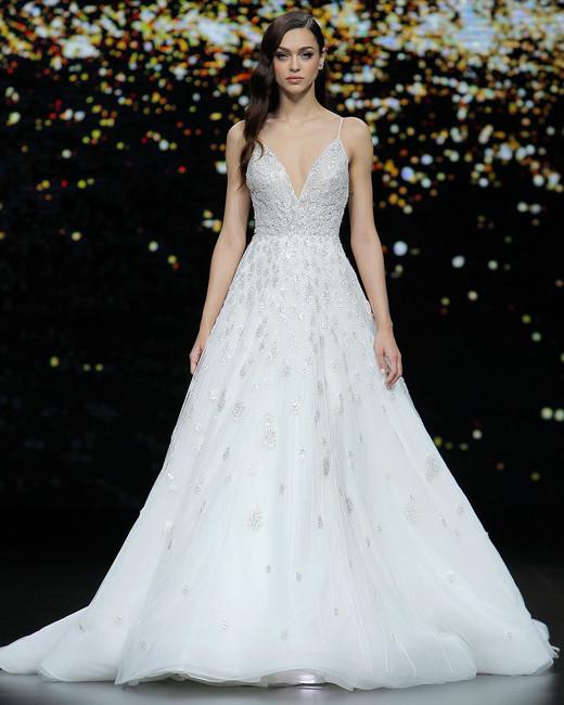 pronovias metallic spaghetti strap a-line wedding dress spring 2020