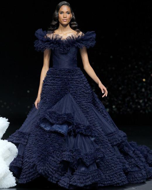 pronovias navy off-the-shoulder ruffled ballgown wedding dress spring 2020