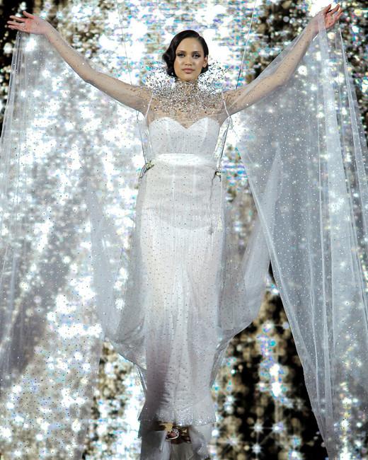 pronovias sparkly spaghetti strap sheath wedding dress with cape spring 2020