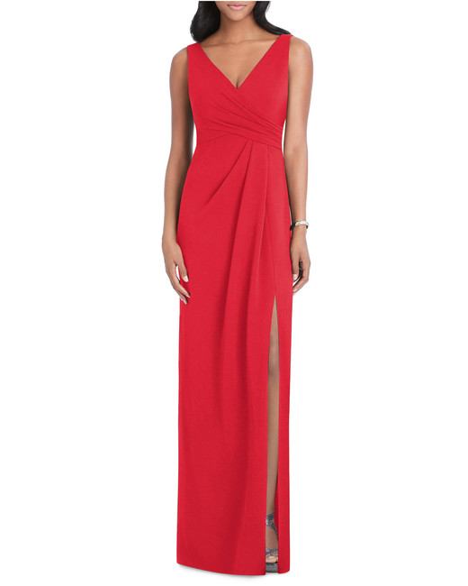 red Pleated Surplice Stretch Crepe Gown