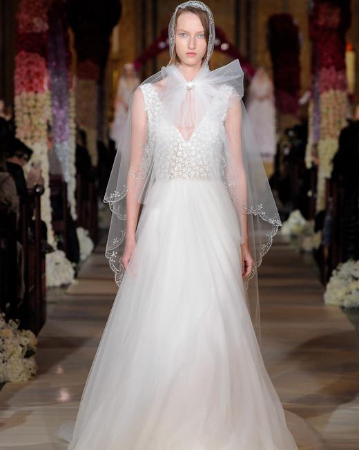 wide strap sleeveless deep v-neck a-line wedding dress Reem Acra Spring 2020