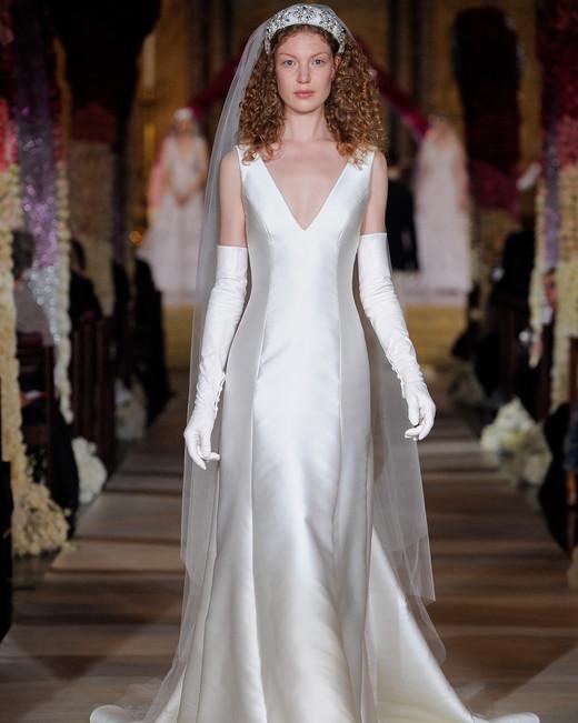 deep v-neck wide strap sheath wedding dress Reem Acra Spring 2020