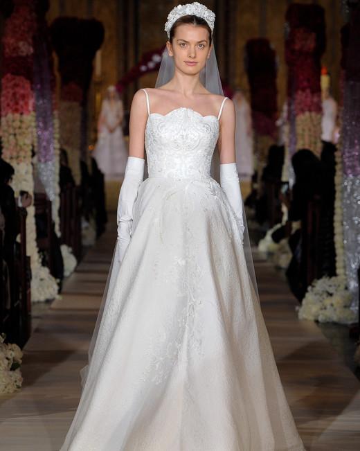 spaghetti strap beaded a-line wedding dress Reem Acra Spring 2020