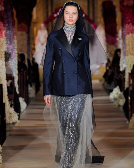 high neck beaded navy sheath wedding dress under navy suit jacket Reem Acra Spring 2020