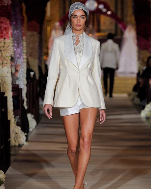 short high neck embellished lace dress under long sleeve jacket  Reem Acra Spring 2020