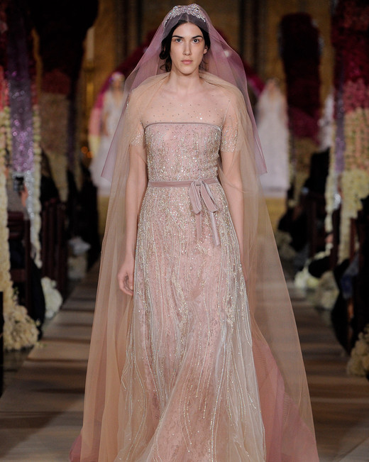 dust rose illusion neck glitter beading short sleeve a-line wedding dress Reem Acra Spring 2020