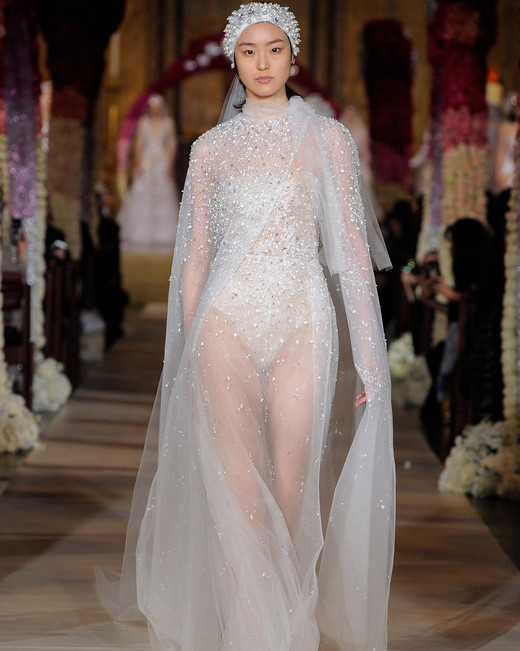 beaded sheer cape and sheath wedding dress Reem Acra Spring 2020