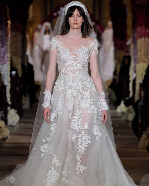 embroidered lace long sleeve a-line wedding dress Reem Acra Spring 2020