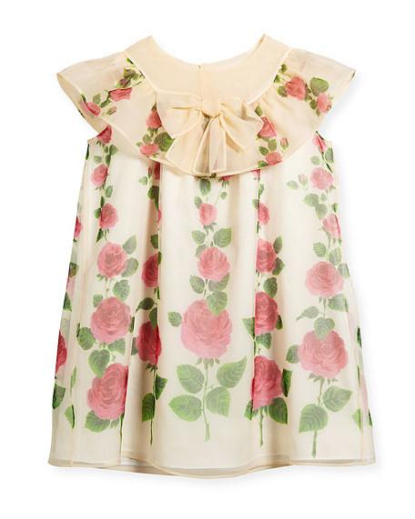 summer flower girl dress rose pattern collar bow