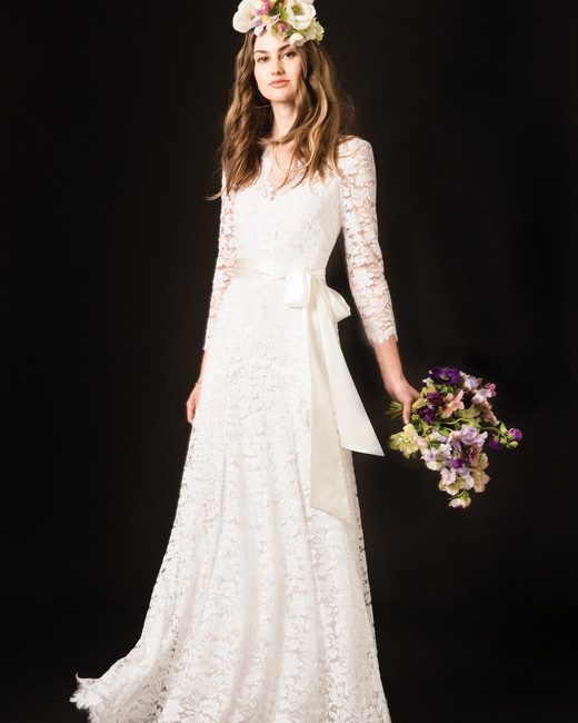 temperley three quarter sleeve lace wedding dress with bow belt spring 2020