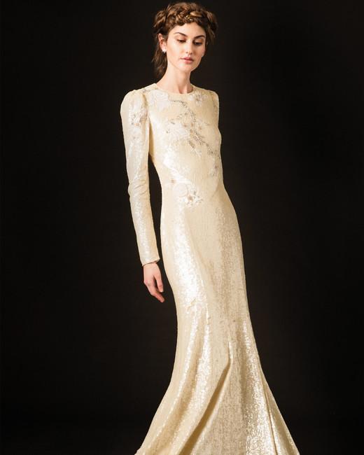 temperley shimmery long sleeve high neckline wedding dress spring 2020