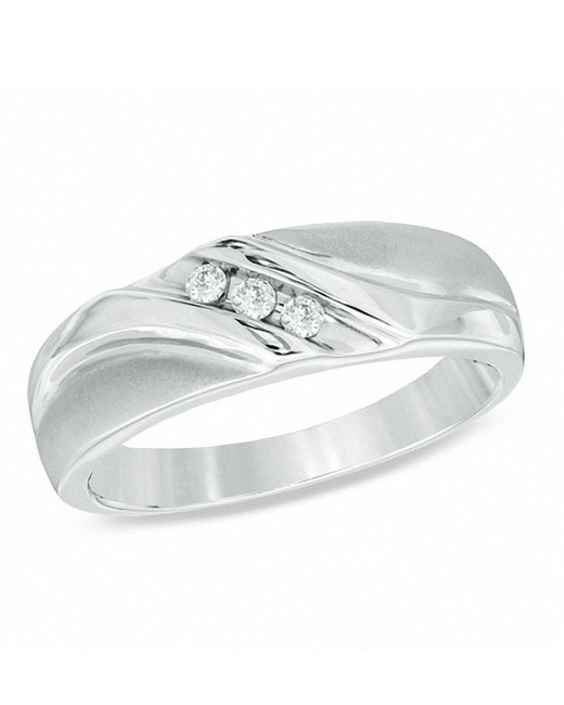 silver three diamond wedding band