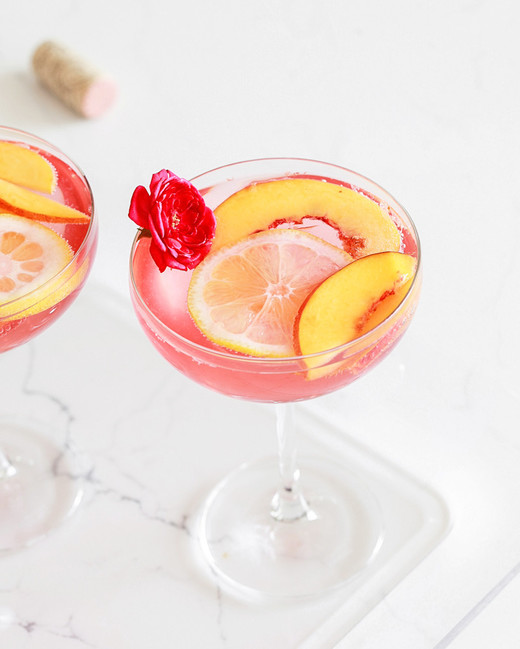 peach and lemon rose cocktail