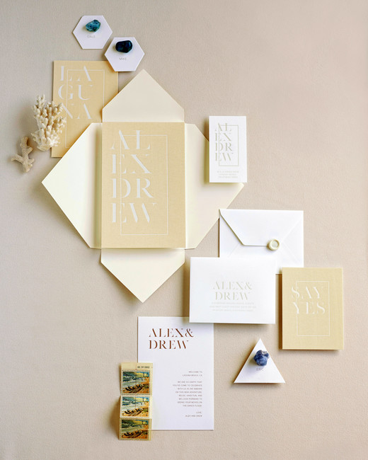 alex drew california wedding invitation stationary suite