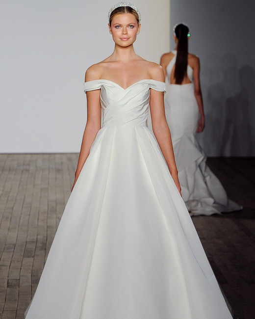 allison webb wedding dress off the shoulder a-line satin