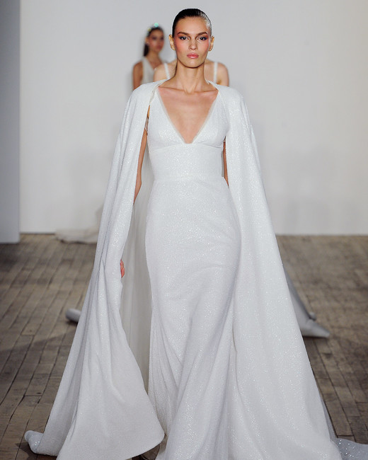 allison webb wedding dress v-neck sparkly cape