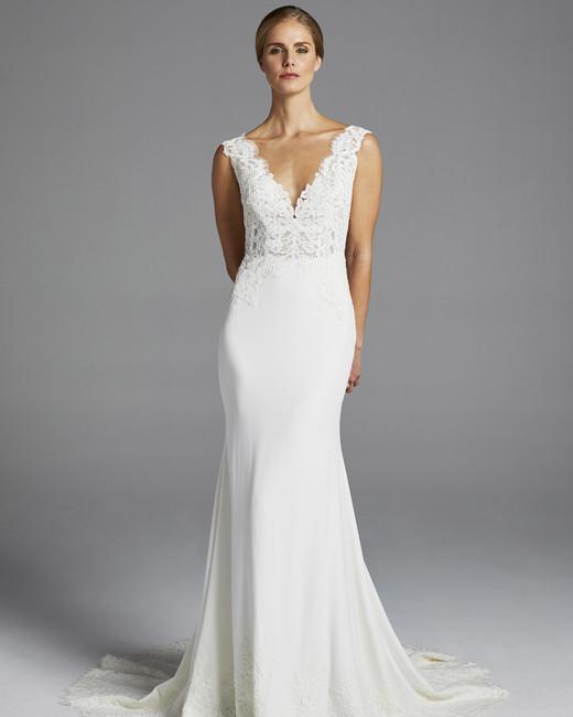 anne barge lace v-neck wedding dress spring 2019