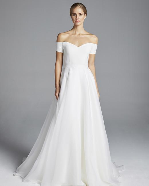 anne barge off the shoulder a-line with belt wedding dress spring 2019