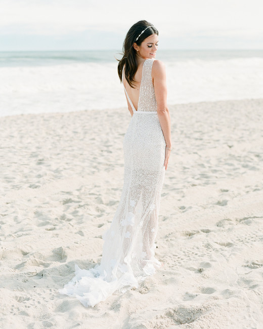 c8b928911e85 beach wedding dresses bride on white sand beach