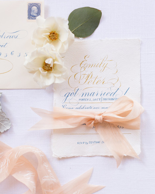 vintage inspired calligraphed wedding invitation stationary