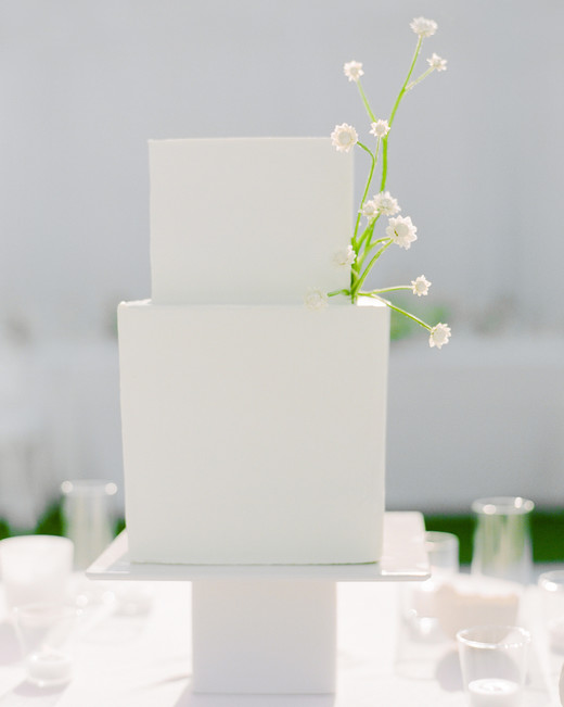 grace ceron wedding modern square white cake