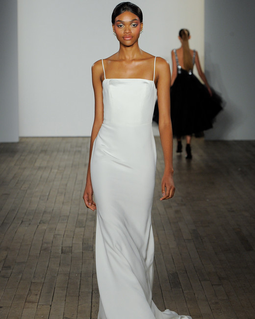 haley paige fall 2019 spaghetti strap minimalist wedding dress