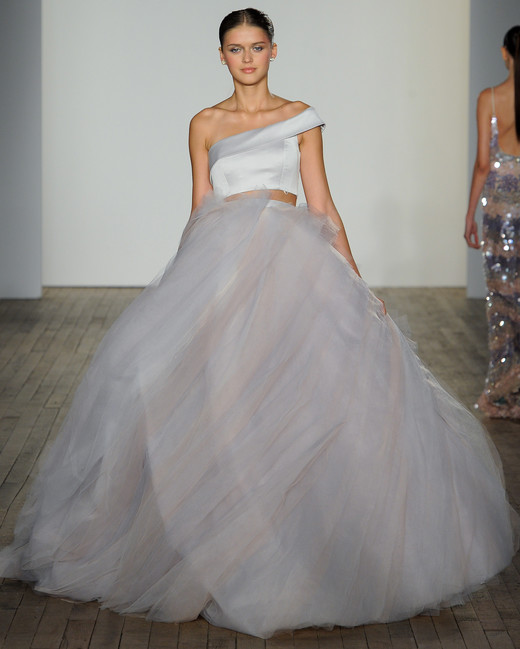 haley paige fall 2019 tulle asymmetrical separates wedding dress