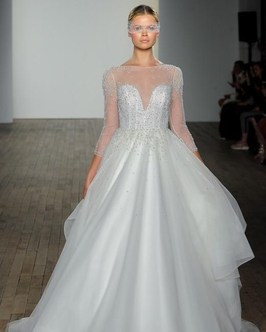 haley paige fall 2019 illusion high neckline beaded ball wedding dress