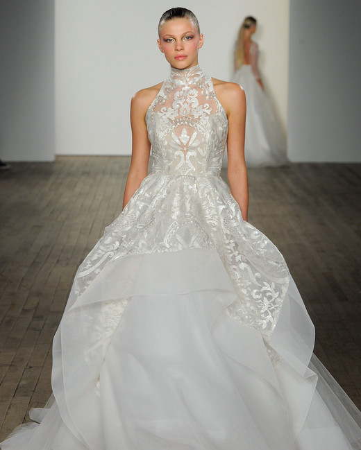 haley paige fall 2019 high neck overskirt wedding dress
