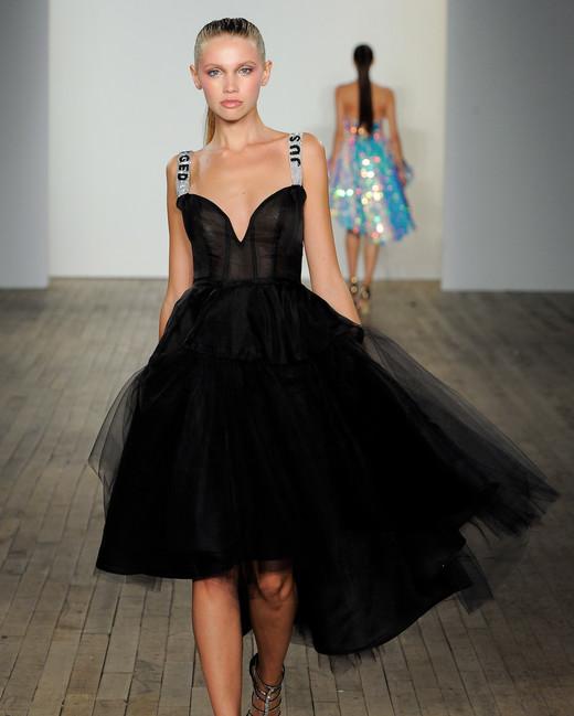 haley paige fall 2019 v-neck short tulle black wedding dress