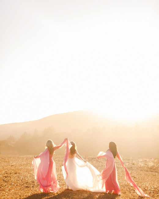 bride with two sisters California hillside