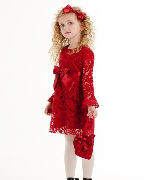 red lace Biscotti flower girl dress