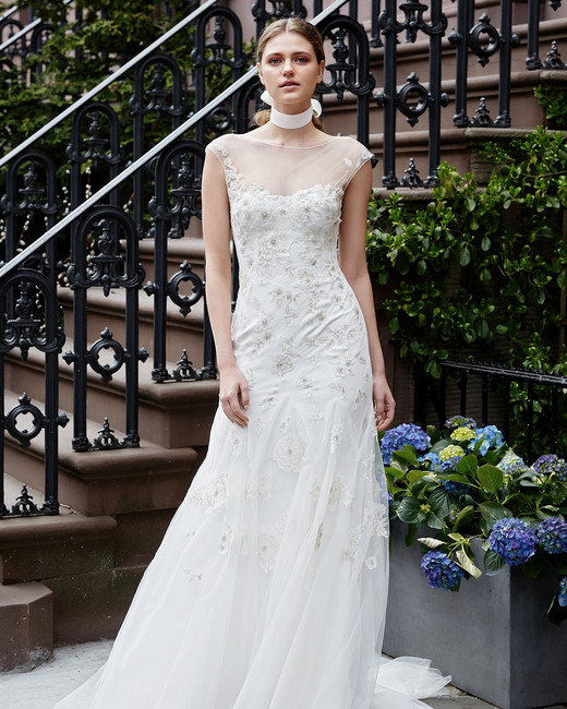 lela rose wedding dress spring 2019 cap-sleeve illusion neck