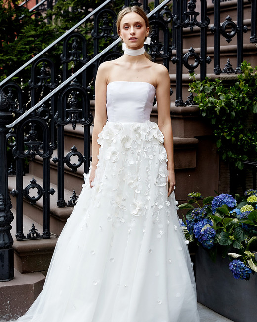 lela rose wedding dress spring 2019 strapless applique layered skirt