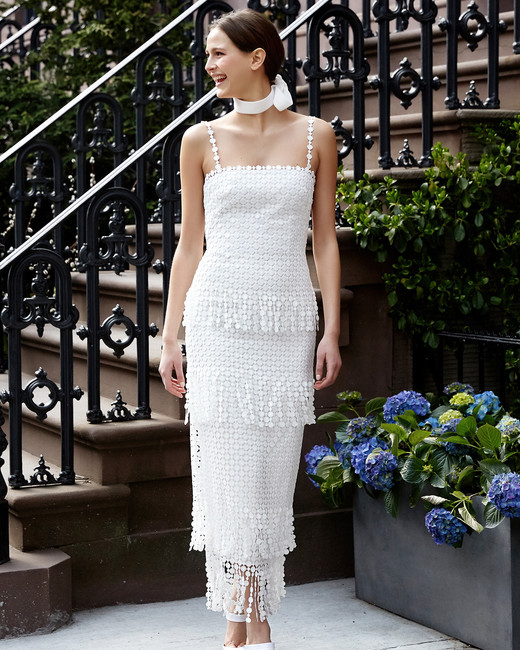 lela rose wedding dress spring 2019 spaghetti strap tiered pattern